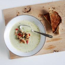 broccolisoep met kastanjechampignons en kalkoen
