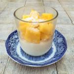 kokos panna cotta met verse mango